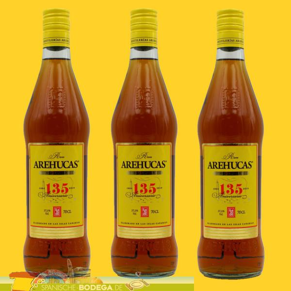 3 x 700ml Arehucas Carta Oro Ron Dorado 2.100ml