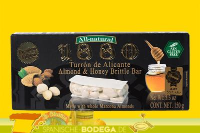 1880 Turron de Alicante Almond  Honey Brittle Bar 220g