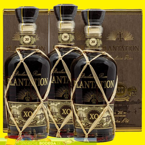 3 x 70cl Plantation Barbados Rum Extra Old 20th Anniversary 2,1l
