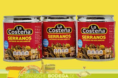 3 x 121g La Costeña Chiles Serrano en escabeche, Serrano-Chili in Lake eingelegt 363g