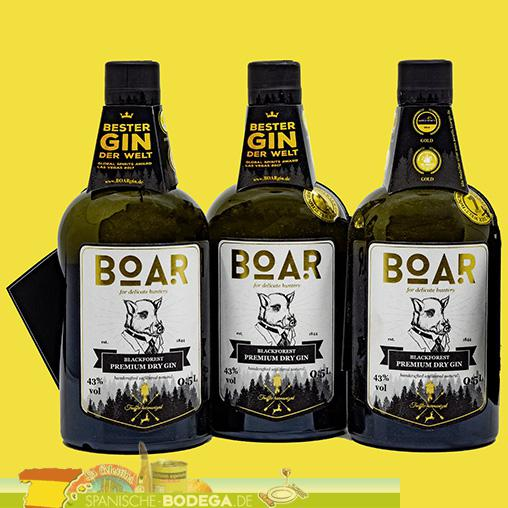 3 x 500ml Boar Black Forest Dry Gin 1.500ml